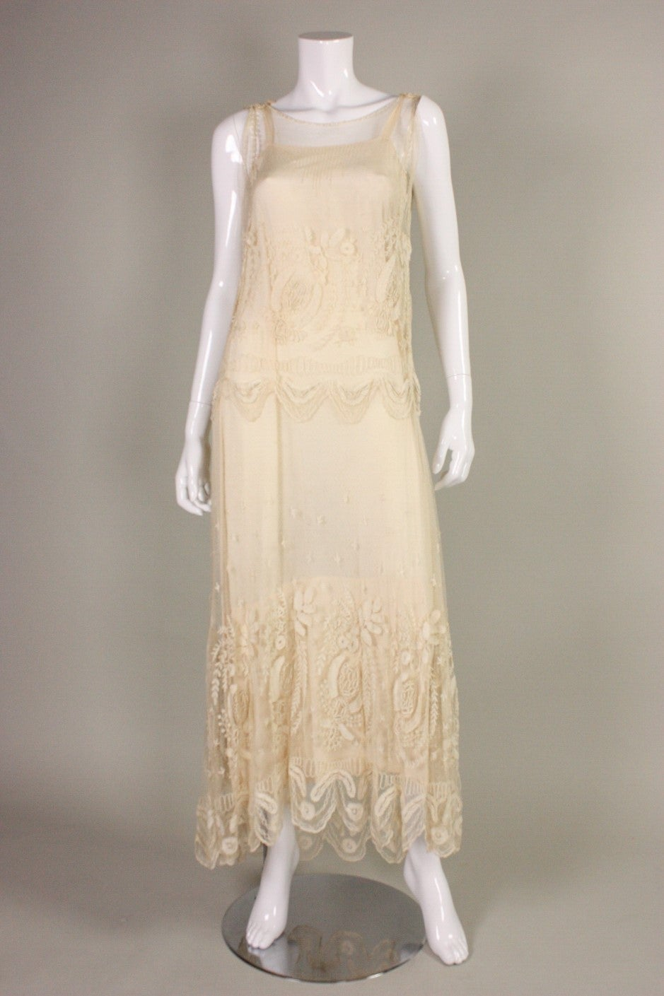 Teens Cream Net Dress With Embroidery For Sale At 1stdibs