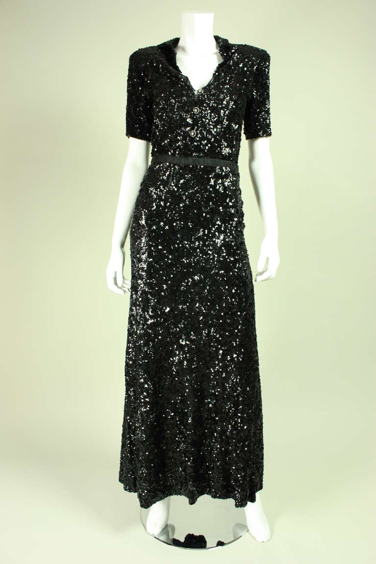 1940's Fully Sequined Evening Gown 2