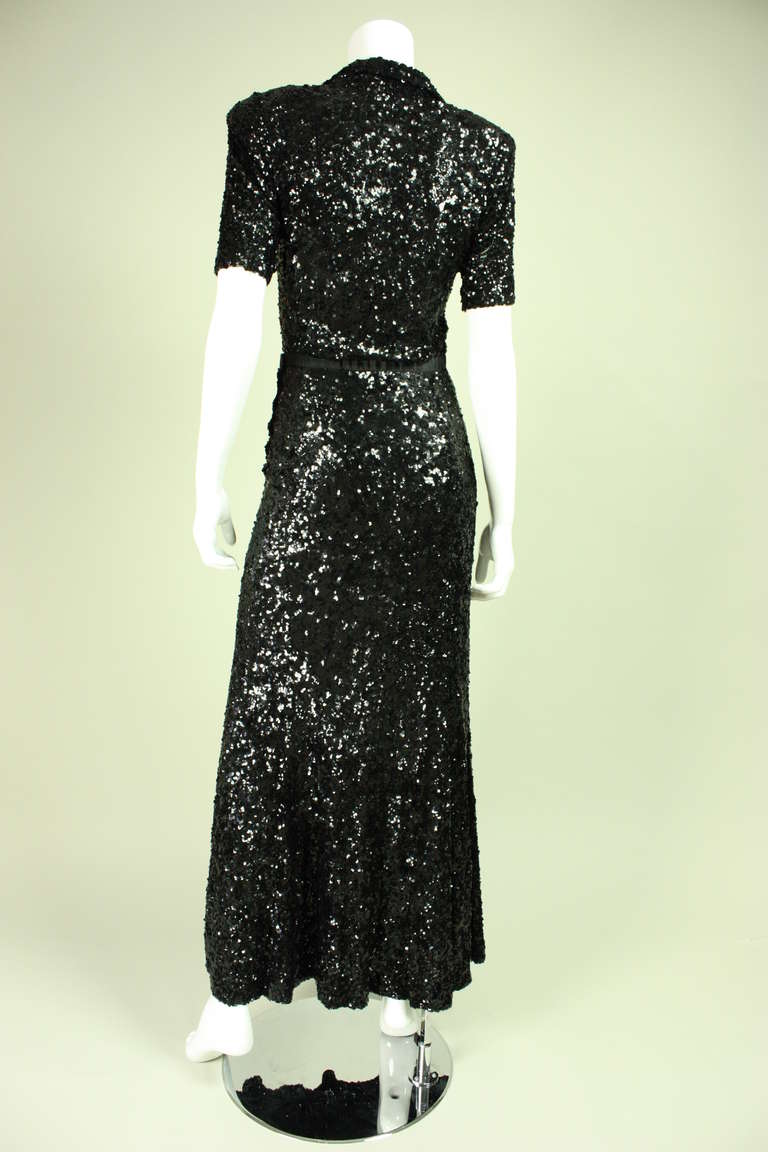 1940's Fully Sequined Evening Gown 5