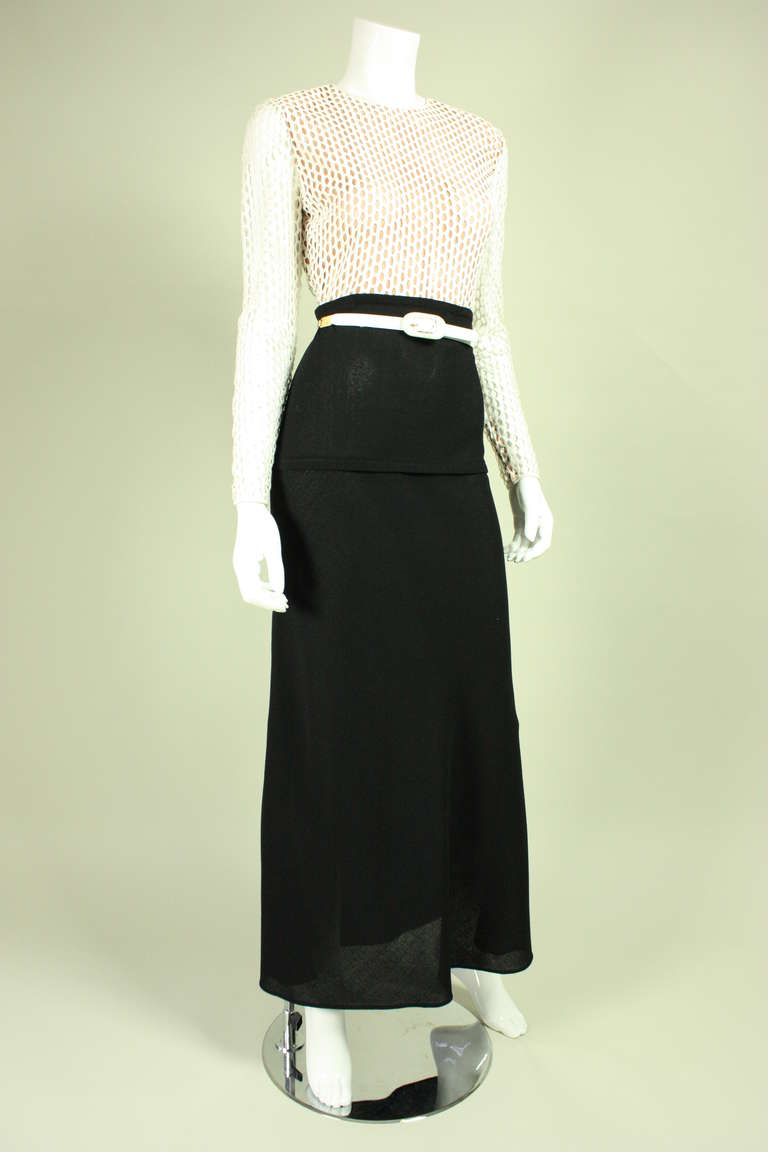 1970's Galanos Black and White Gown 3