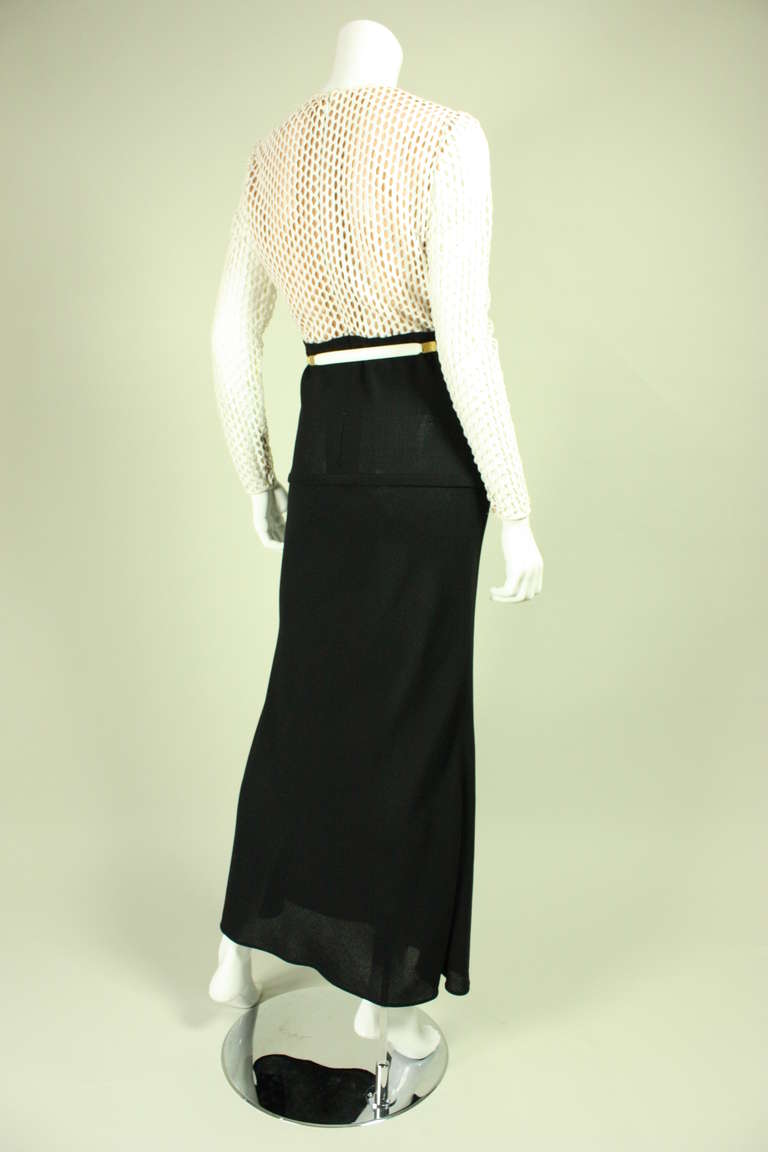 Women's Galanos Black and White Gown, 1970s  For Sale