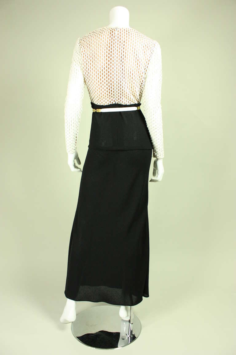 Galanos Black and White Gown, 1970s  For Sale 1