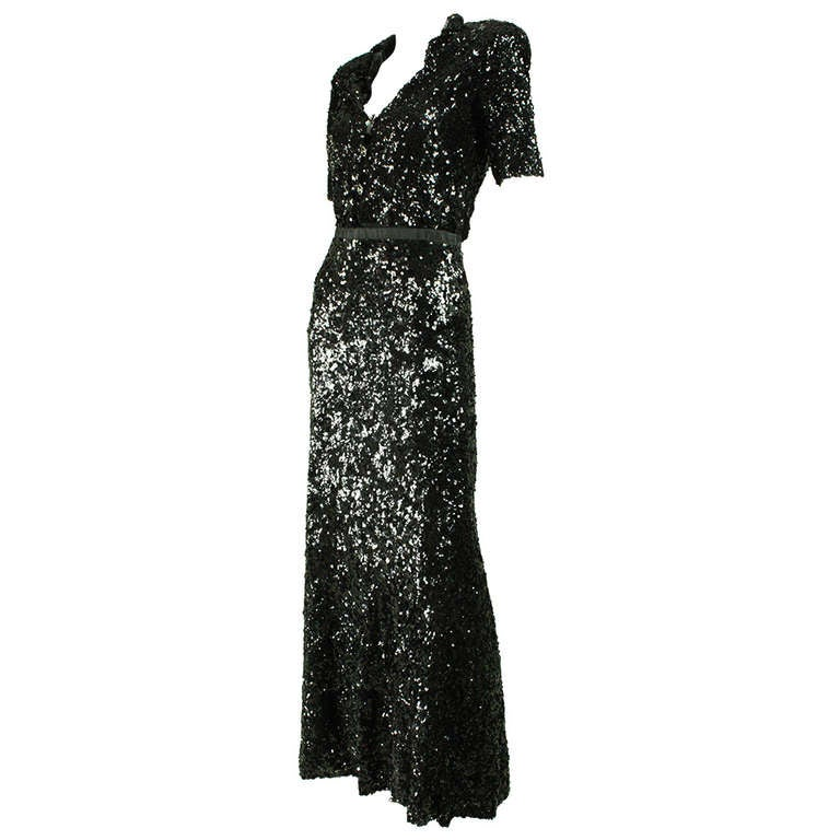 1940's Fully Sequined Evening Gown 1