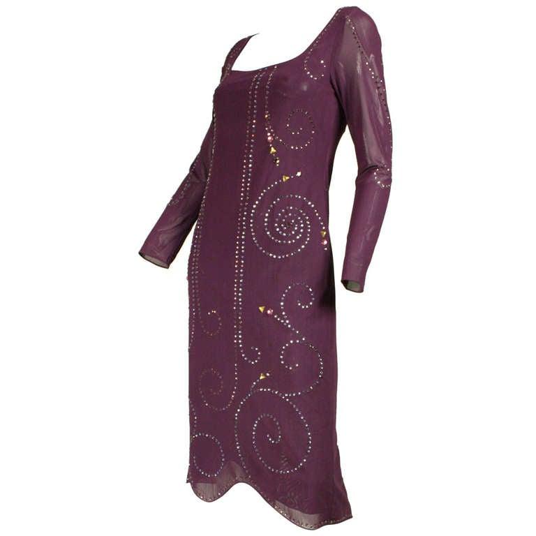Giorgio Sant'Angelo Rhinestone Studded Mesh Dress, 1970s