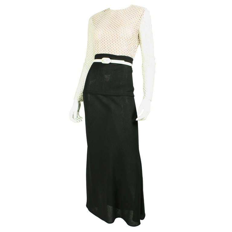 Galanos Black and White Gown, 1970s  For Sale