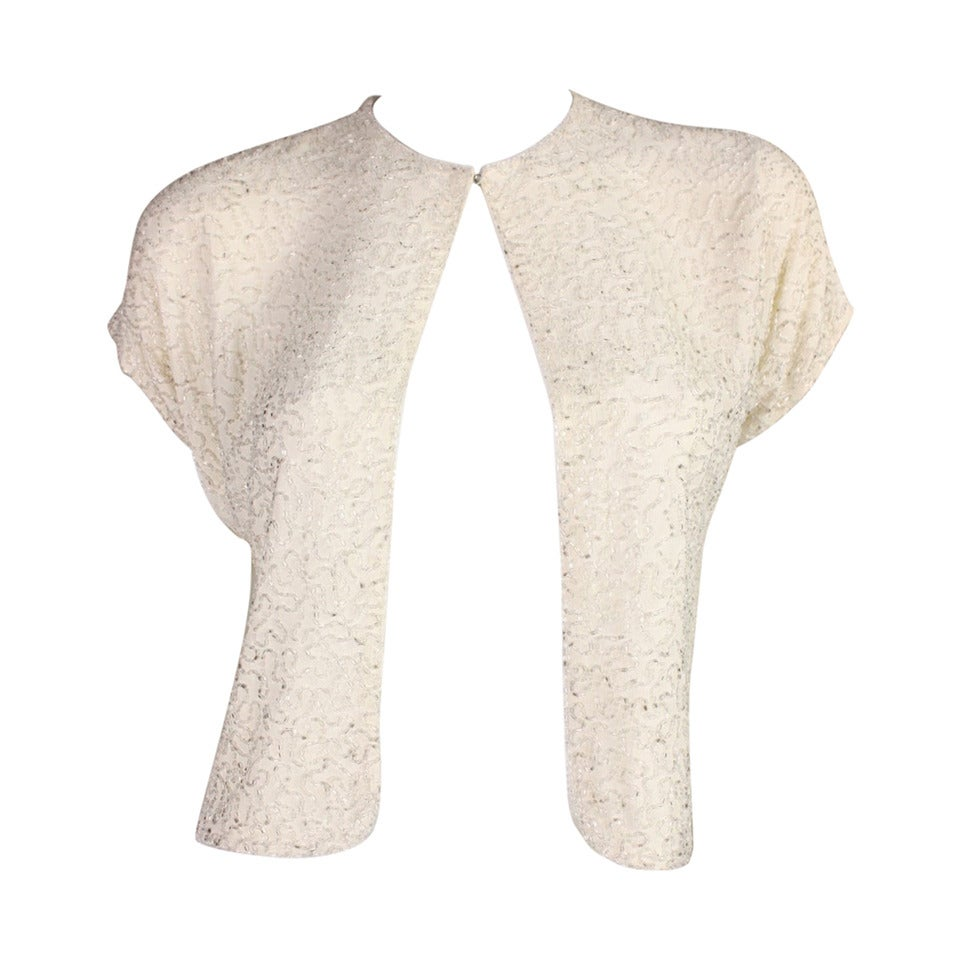 Beaded Cream Jacket, 1940s  For Sale