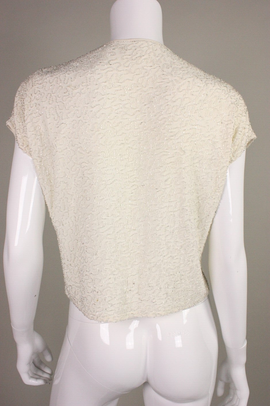 Beaded Cream Jacket, 1940s  In Excellent Condition For Sale In Los Angeles, CA