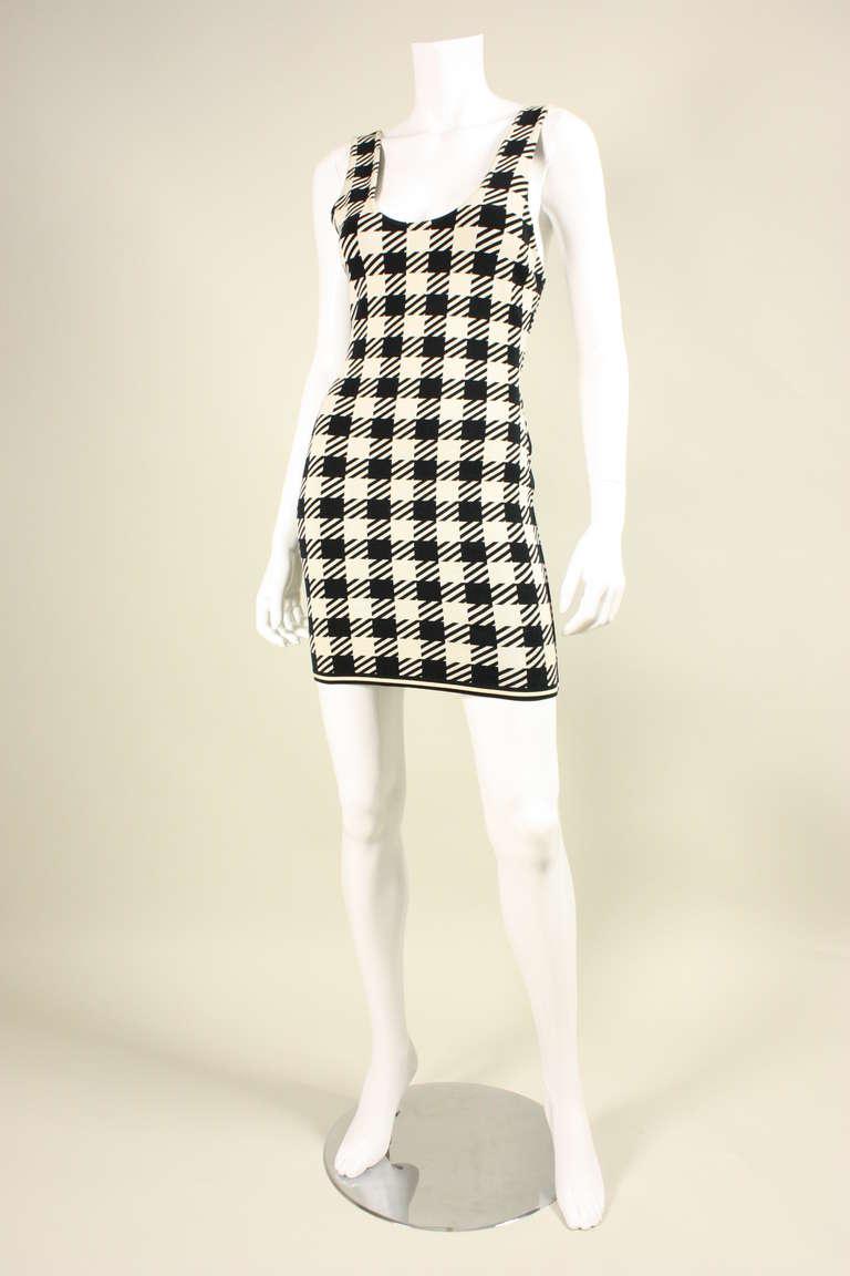 1991 Alaia Black and White Tati Bodycon Dress 2