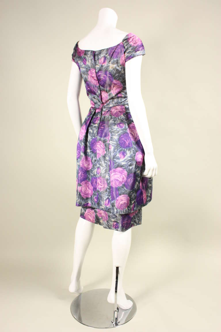 1950 S Watercolor Floral Cocktail Dress At 1stdibs