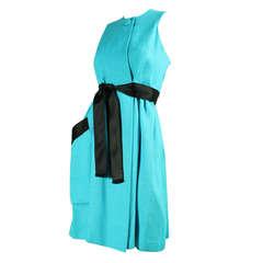 1960's Geoffrey Beene Turquoise Linen Dress