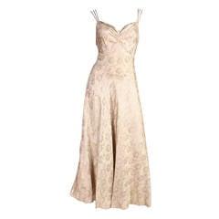Lamé Bias-Cut Evening Dress, 1930s