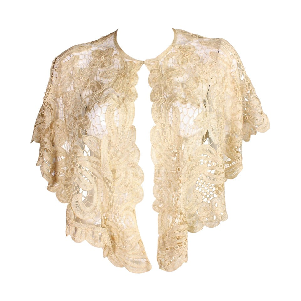 Edwardian Battenburg Lace Capelet 1
