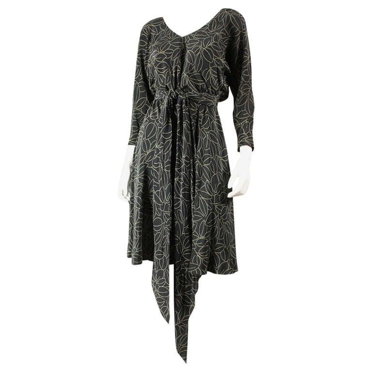 1970's Halston Printed Wrap Dress 1