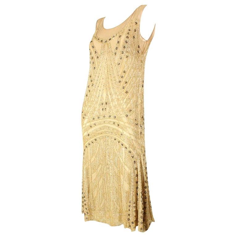 1920's Beaded Silk Flapper Dress