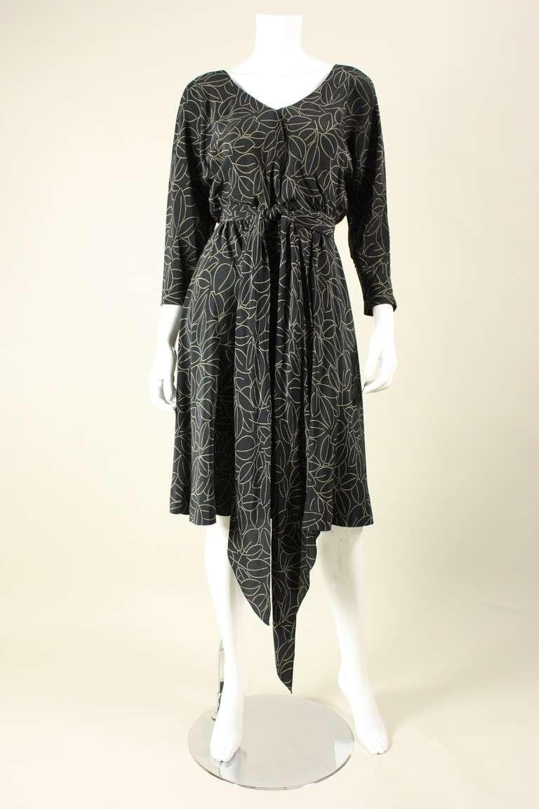 1970's Halston Printed Wrap Dress 2