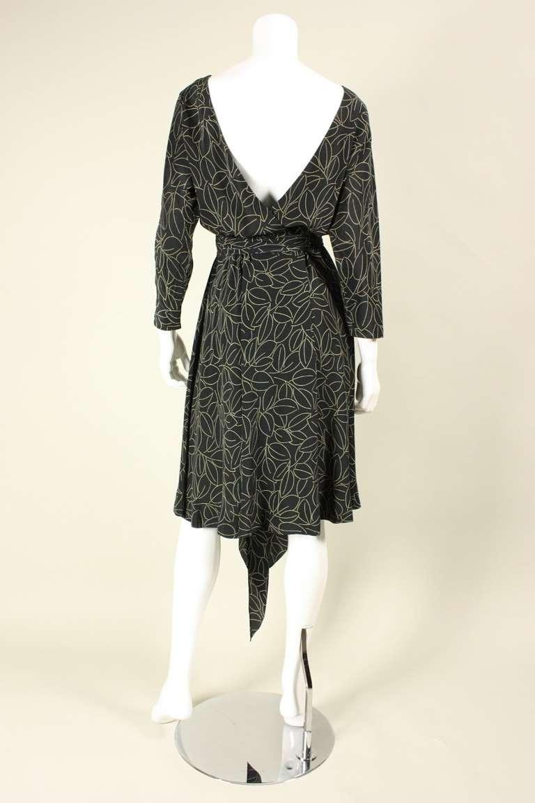1970's Halston Printed Wrap Dress 5