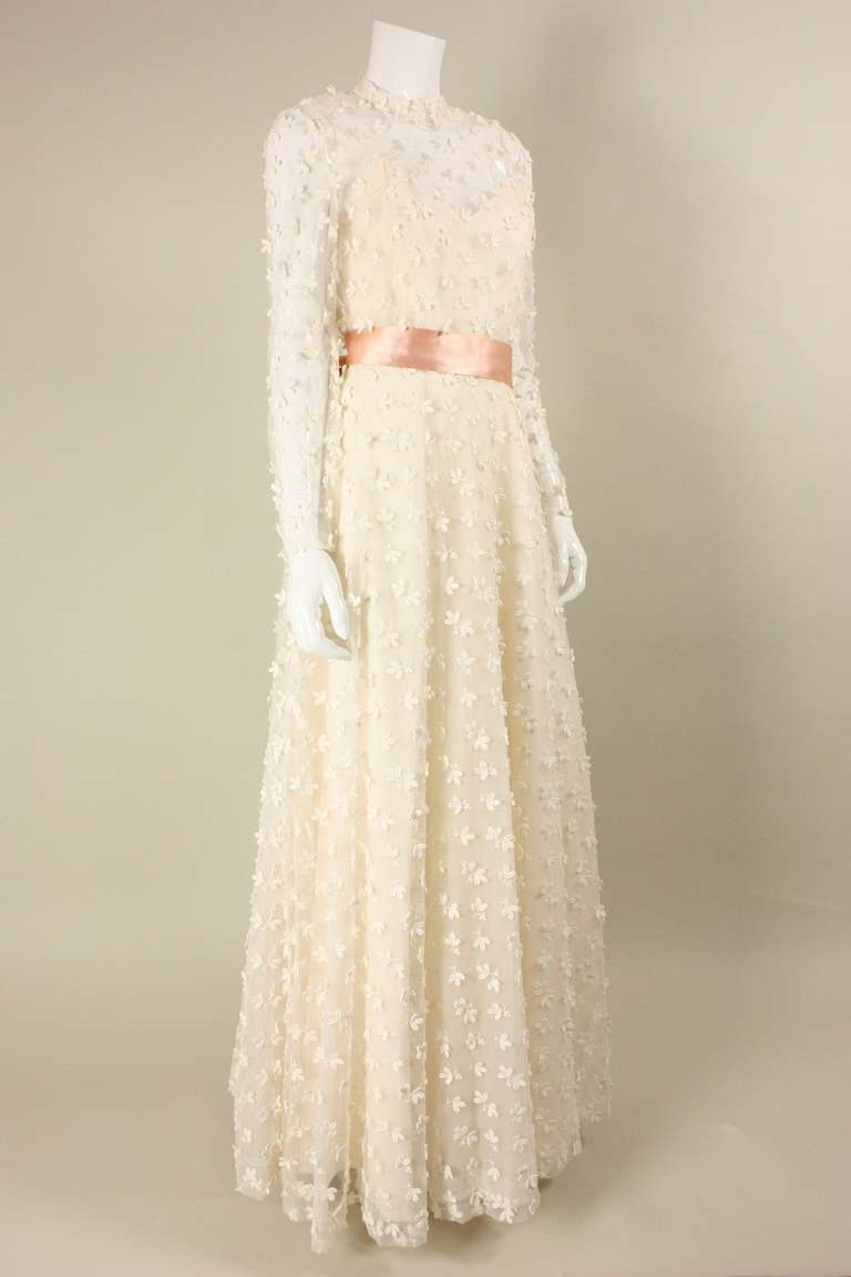 Stavropoulos Net Gown with Allover Flower Applique In New Never_worn Condition For Sale In Los Angeles, CA