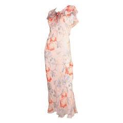 1930's Silk Chiffon Floral Bias-Cut Dress