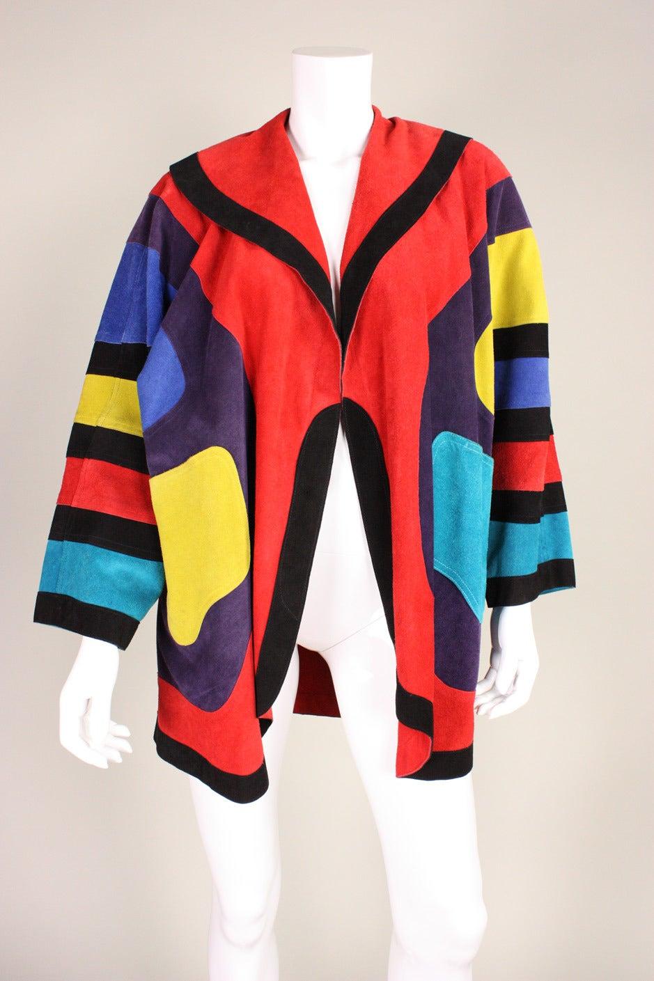 Jean Muir Colorblocked Suede Coat 2