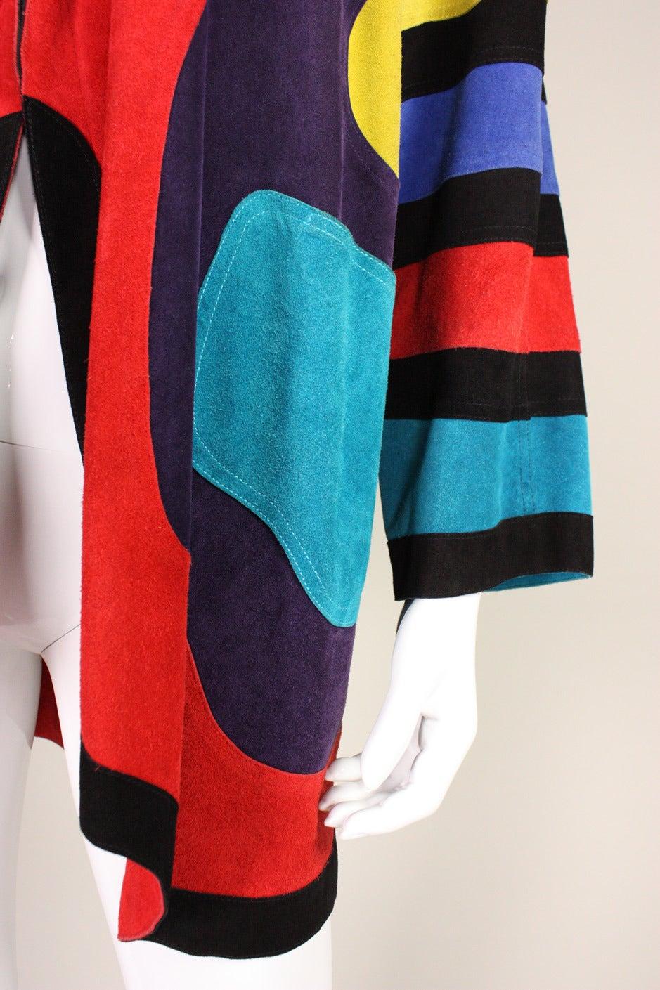 Jean Muir Colorblocked Suede Coat 7