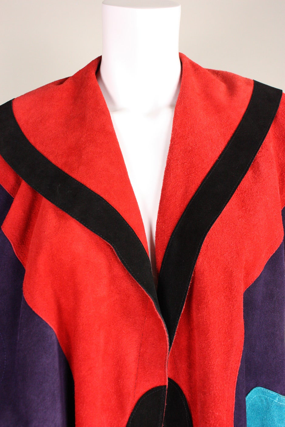 Jean Muir Colorblocked Suede Coat 6