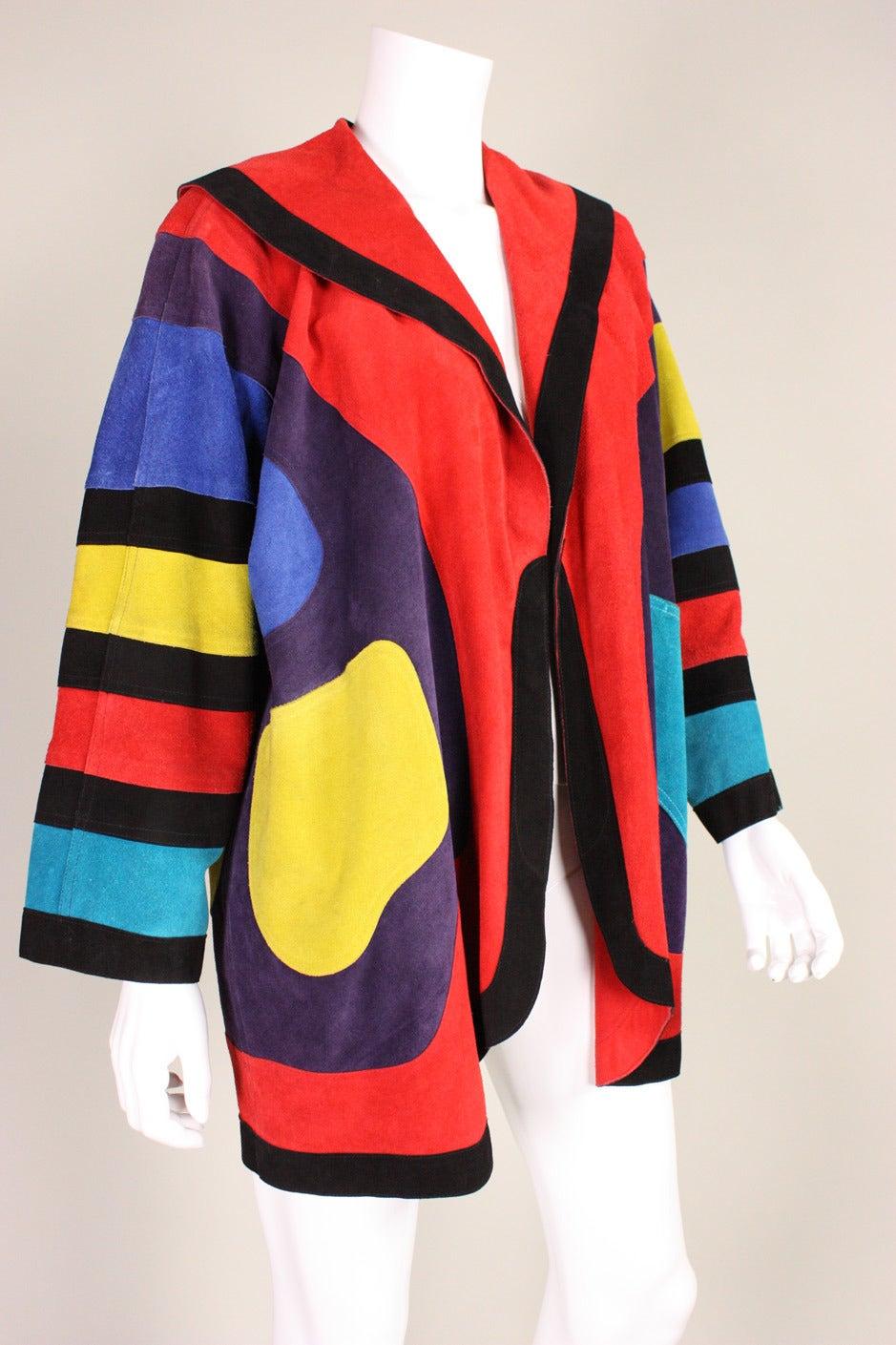 Jean Muir Colorblocked Suede Coat 3