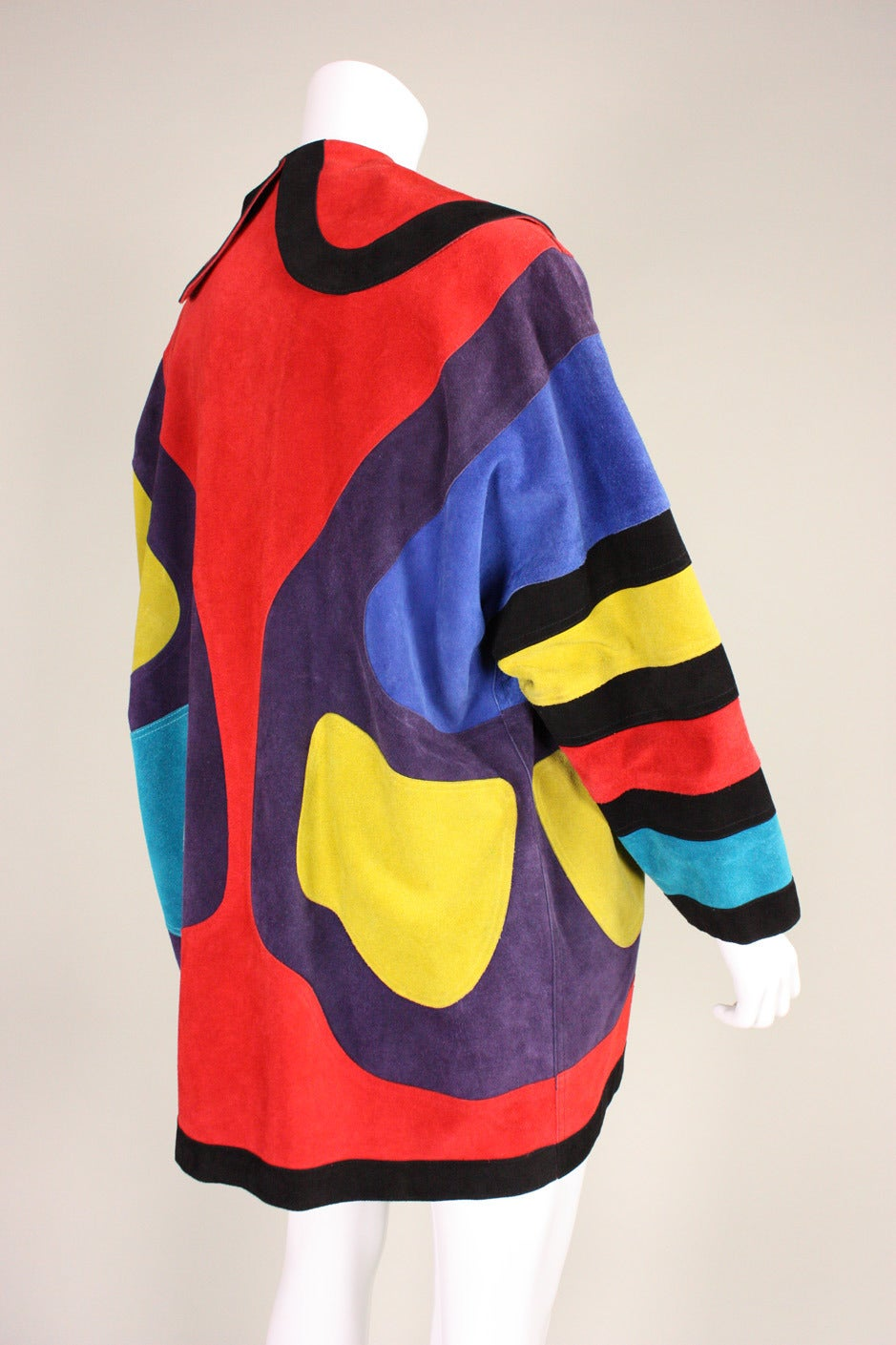 Jean Muir Colorblocked Suede Coat 4