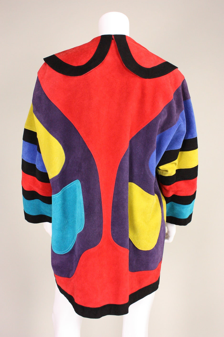 Jean Muir Colorblocked Suede Coat 5