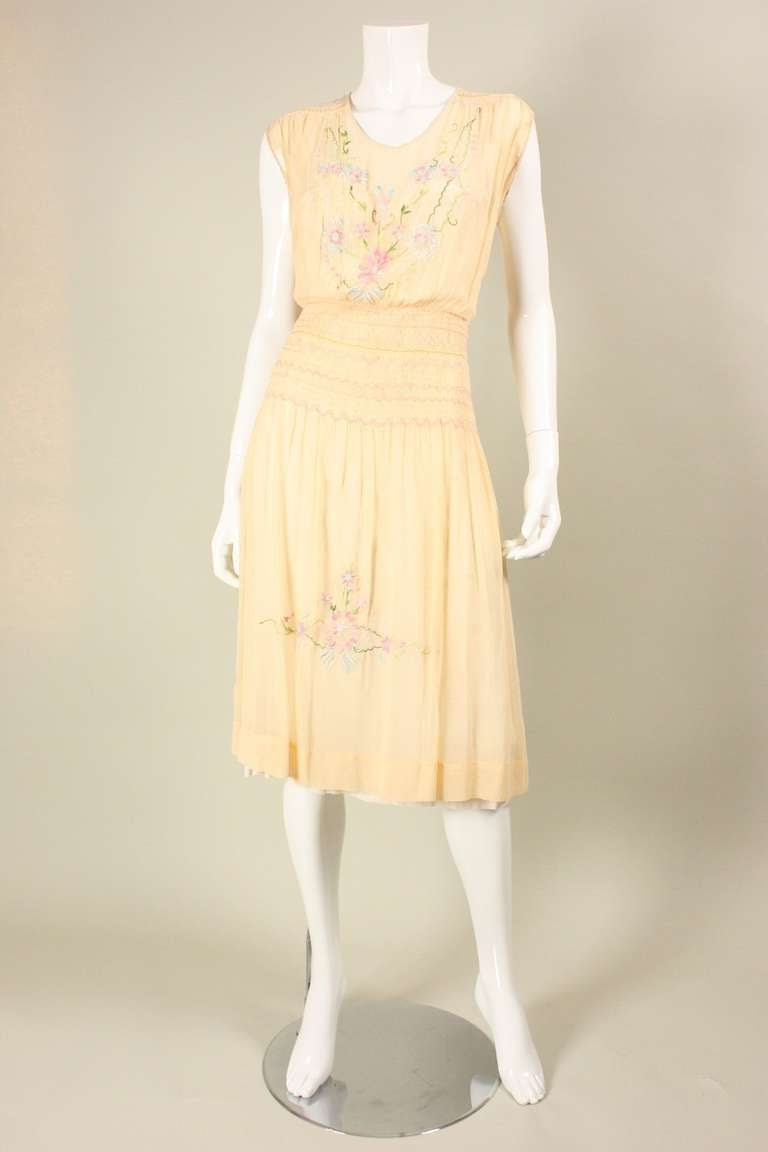 Orange 1920's Peach Voile Dress with Floral Embroidery & Smocking For Sale