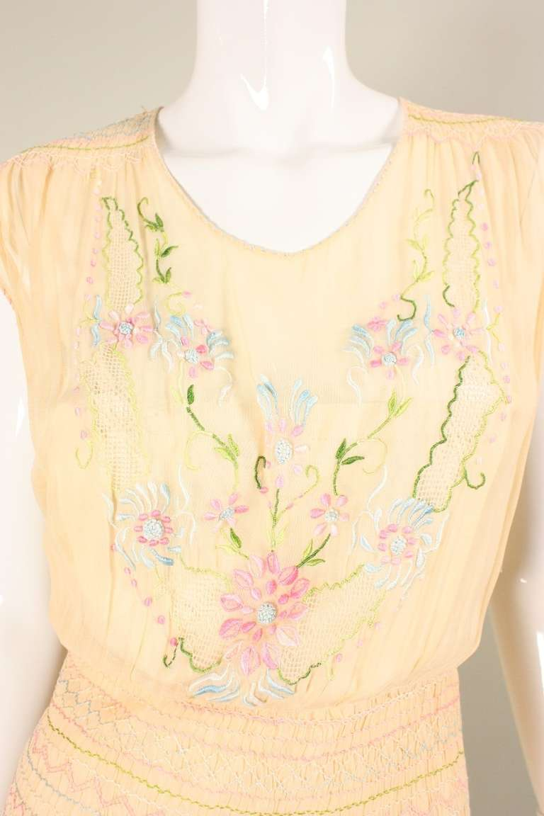 1920's Peach Voile Dress with Floral Embroidery & Smocking For Sale 2
