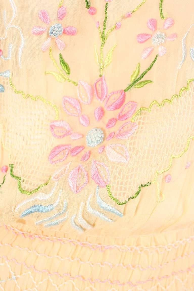 1920's Peach Voile Dress with Floral Embroidery & Smocking 8