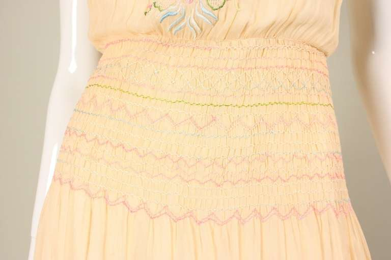 1920's Peach Voile Dress with Floral Embroidery & Smocking For Sale 5