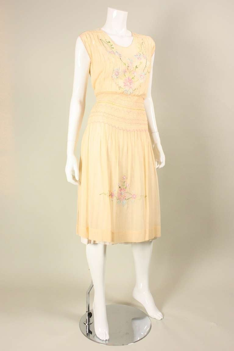 1920's Peach Voile Dress with Floral Embroidery & Smocking In Good Condition For Sale In Los Angeles, CA