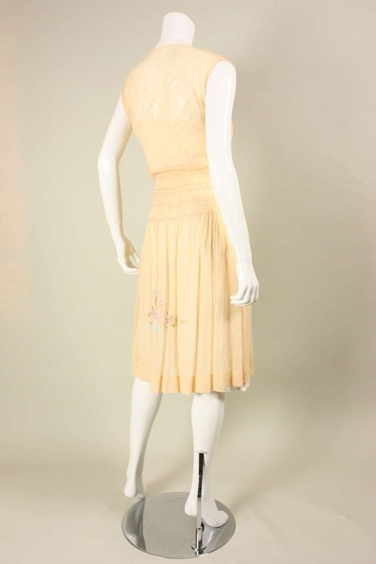 Women's 1920's Peach Voile Dress with Floral Embroidery & Smocking For Sale