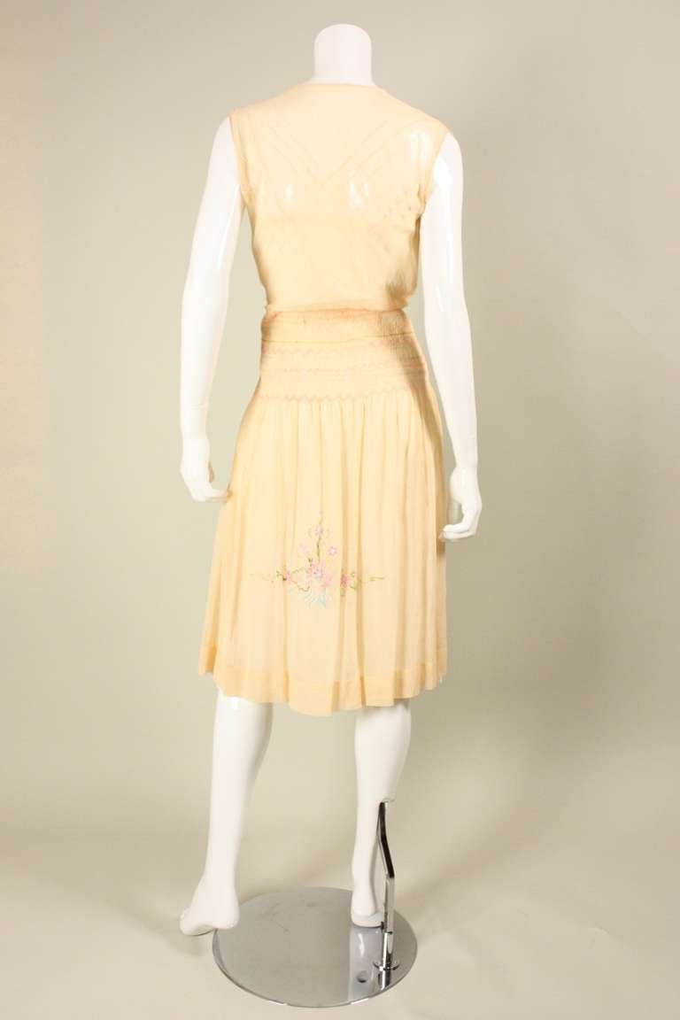 1920's Peach Voile Dress with Floral Embroidery & Smocking For Sale 1