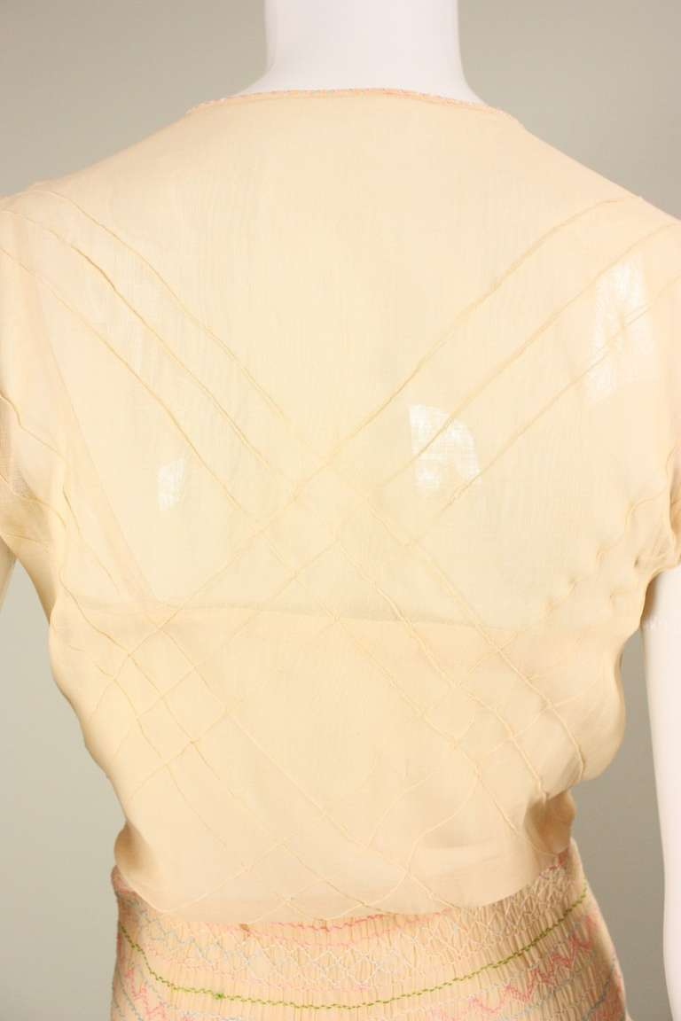 1920's Peach Voile Dress with Floral Embroidery & Smocking For Sale 4