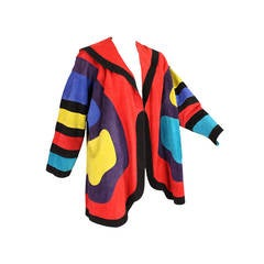 Jean Muir Colorblocked Suede Coat