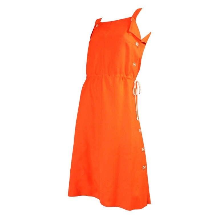 Courreges Orange Linen Sleeveless Dress 1