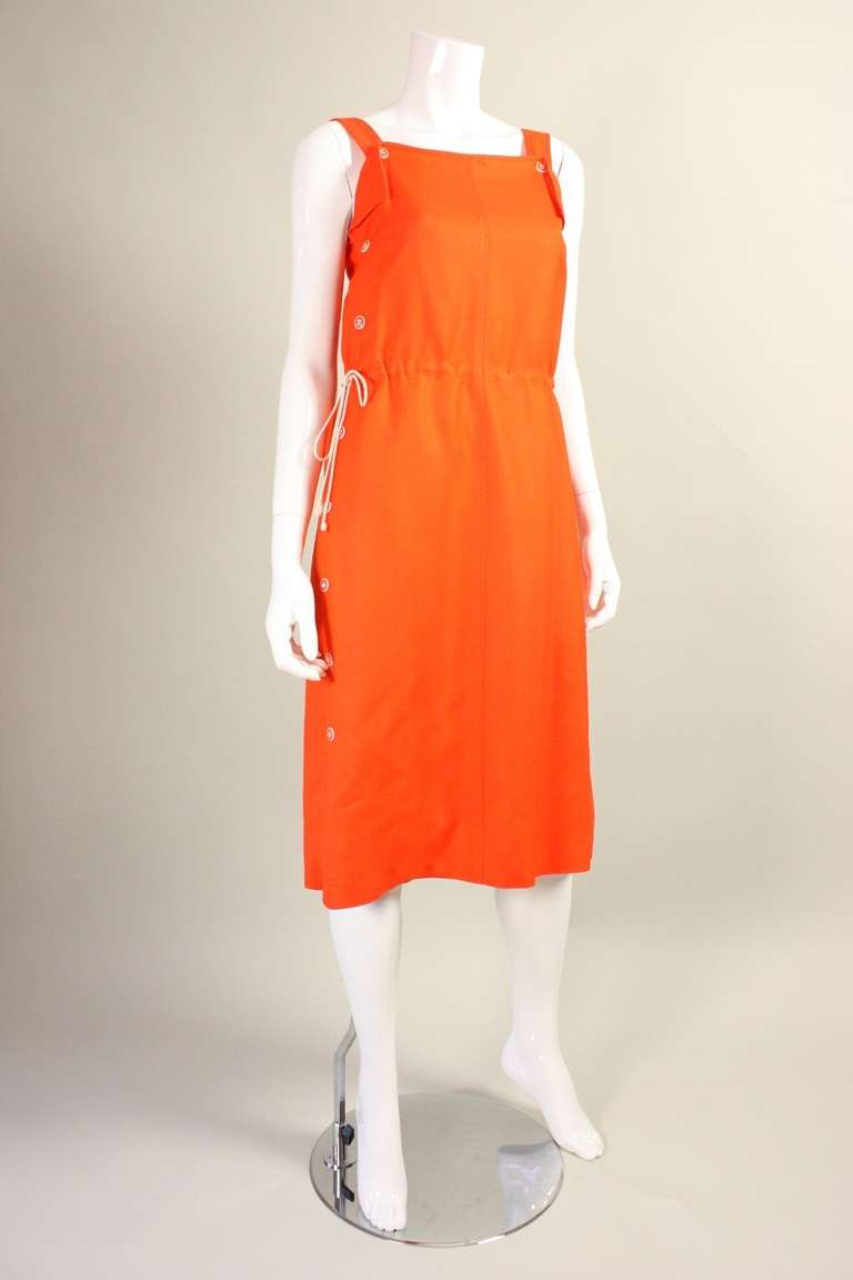Red Courreges Orange Linen Sleeveless Dress For Sale