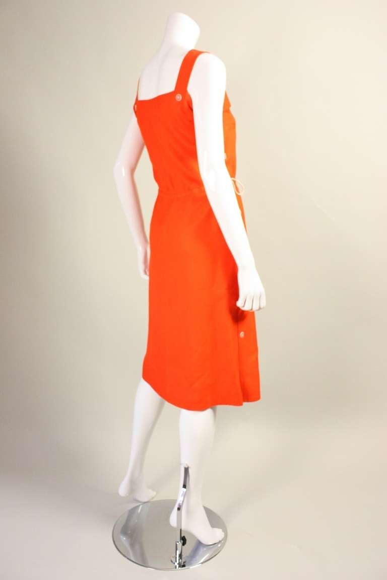 Courreges Orange Linen Sleeveless Dress In Excellent Condition For Sale In Los Angeles, CA