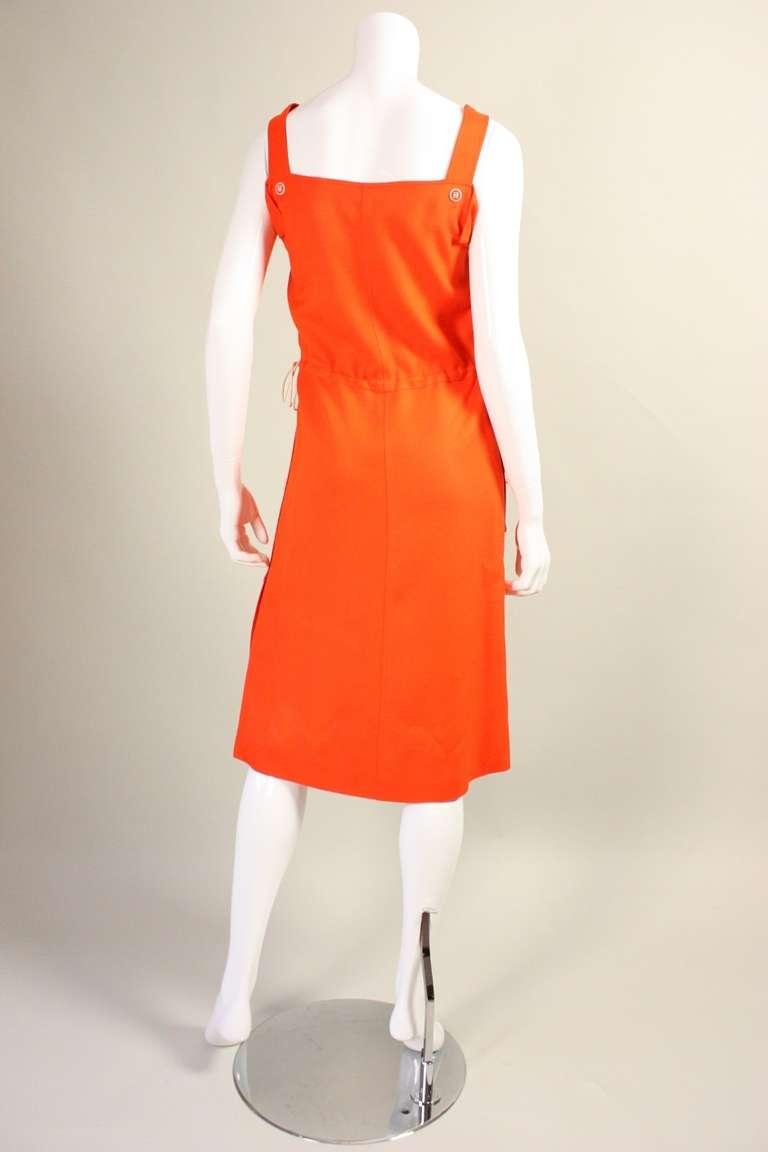 Courreges Orange Linen Sleeveless Dress 5