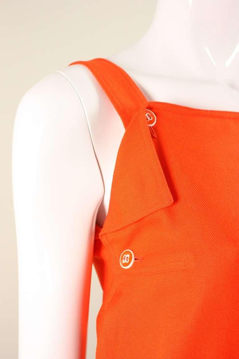 Courreges Orange Linen Sleeveless Dress 6