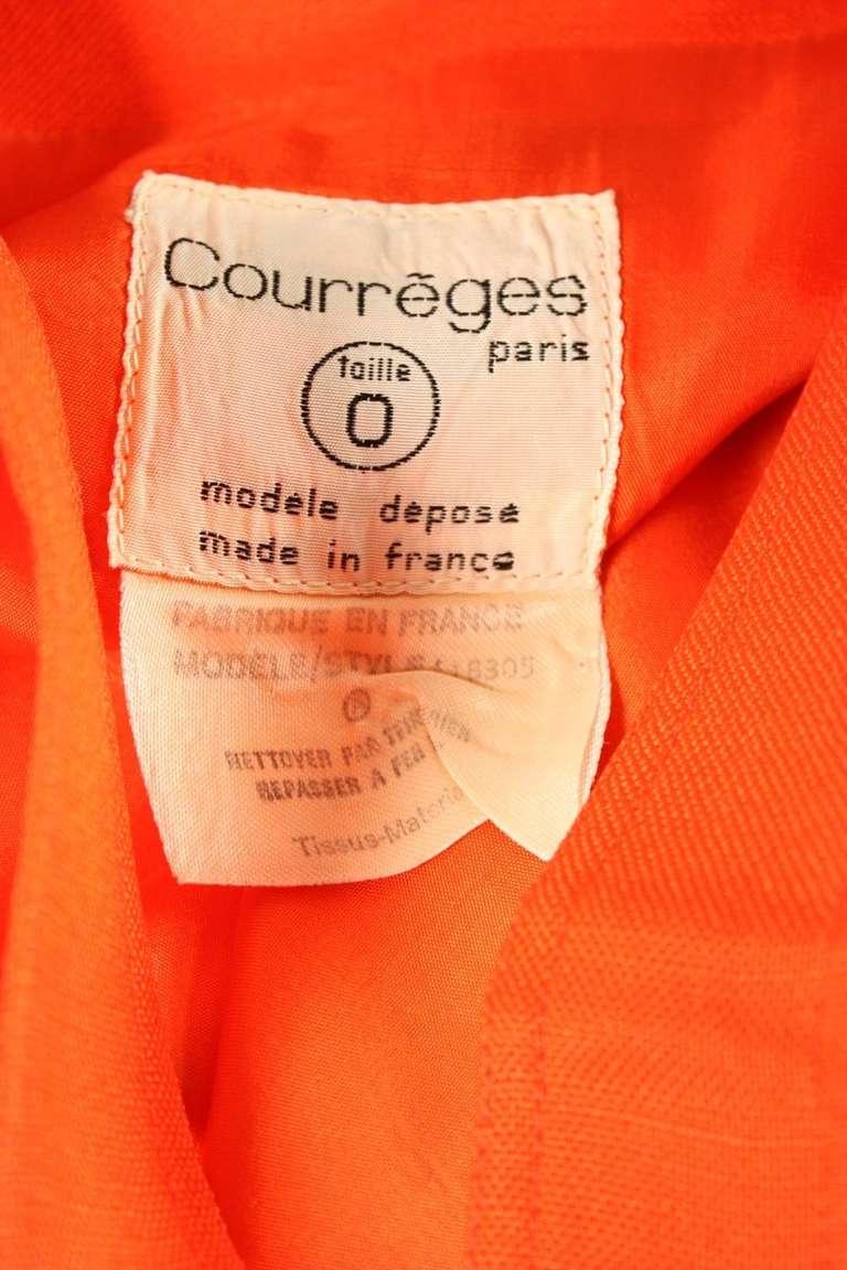 Courreges Orange Linen Sleeveless Dress 7