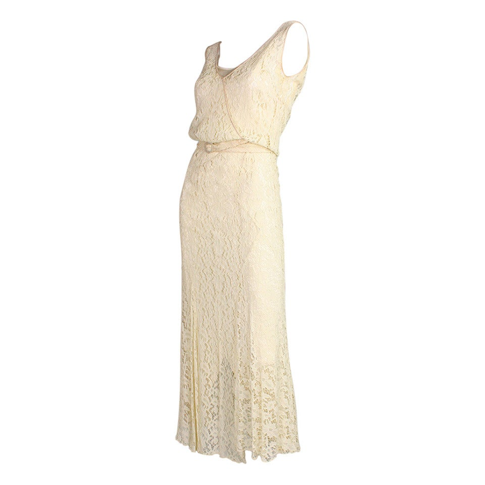 1930's Ivory Lace Dress For Sale