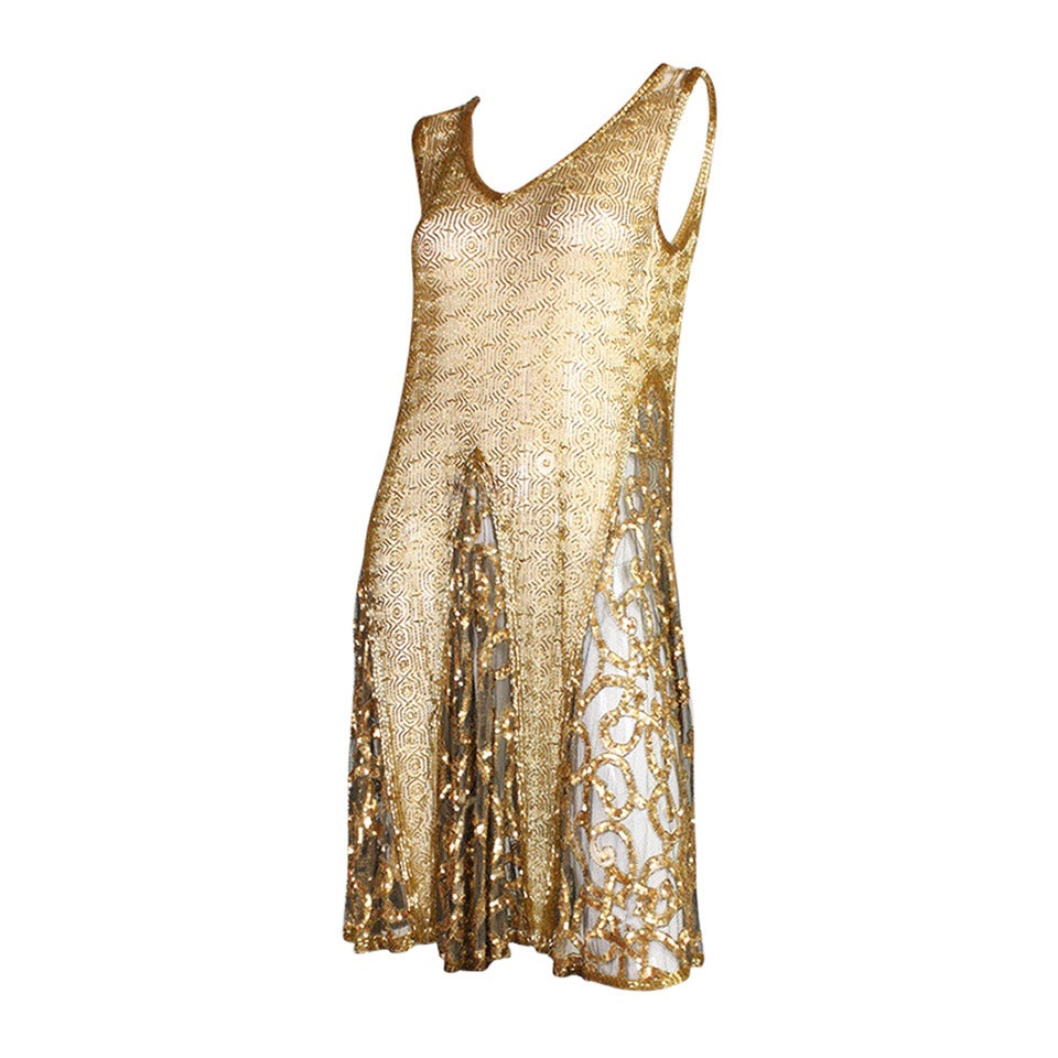 1920's Gold Beaded & Sequined Dress For Sale
