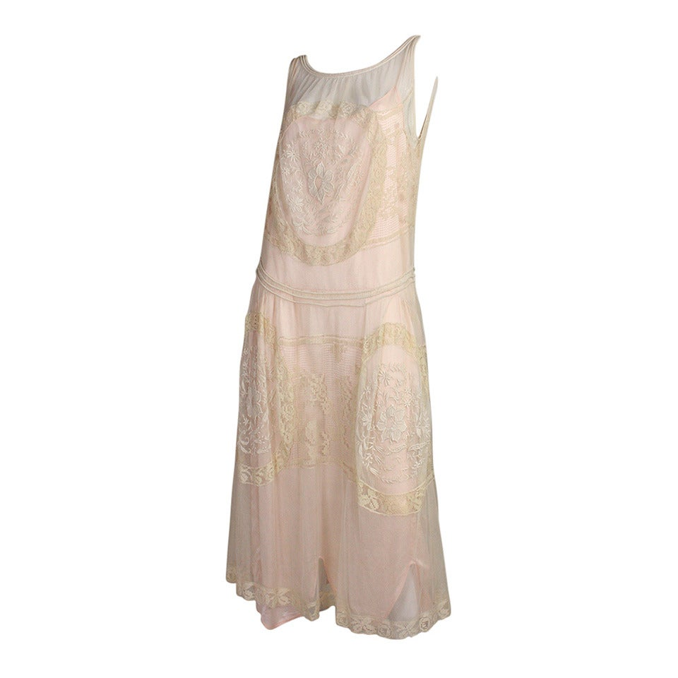 1920's Embroidered Net & Filet Lace Dress 1