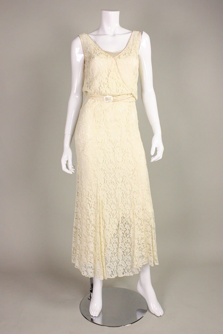 Beige 1930's Ivory Lace Dress For Sale