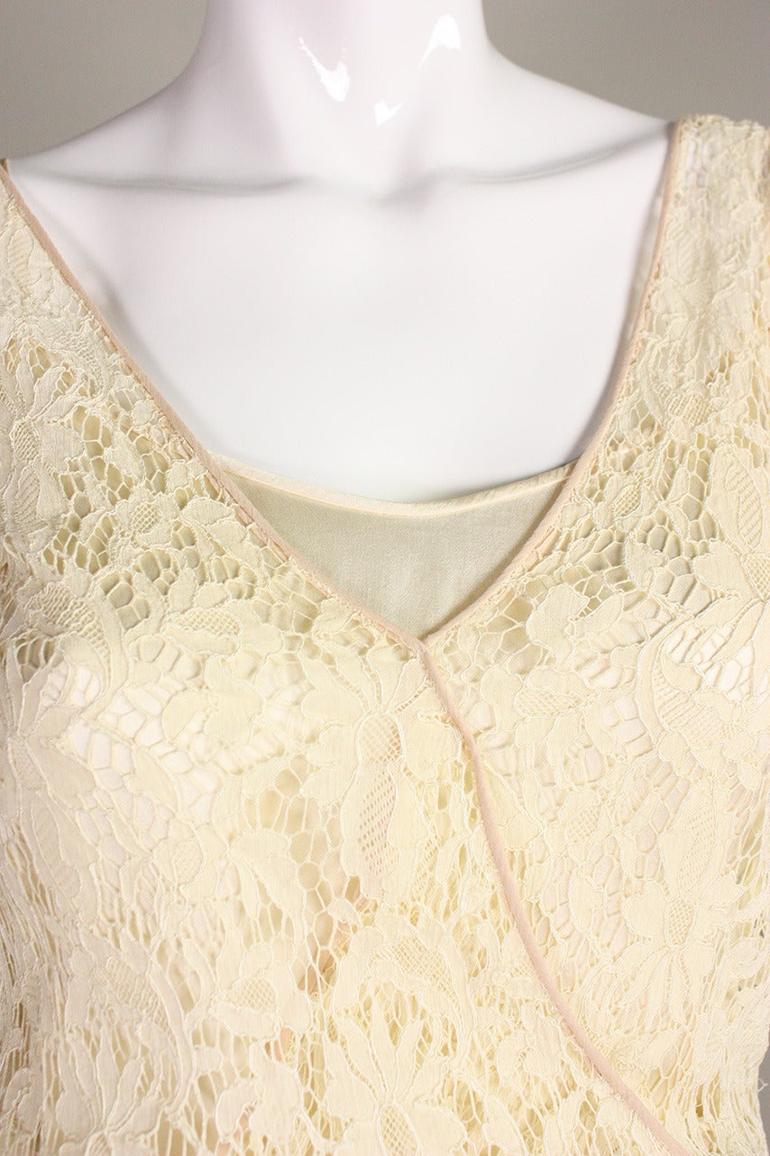 1930's Ivory Lace Dress For Sale 2