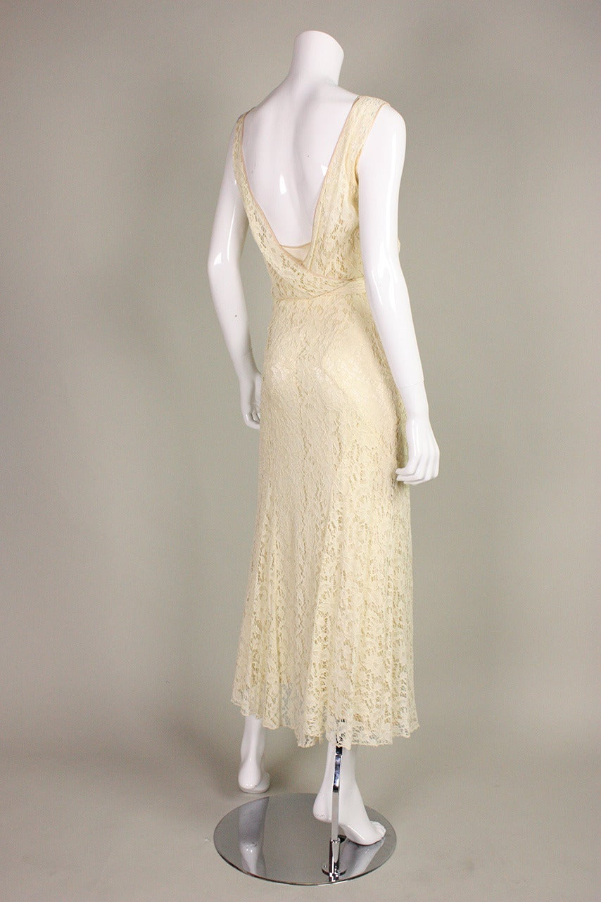 Women's 1930's Ivory Lace Dress For Sale