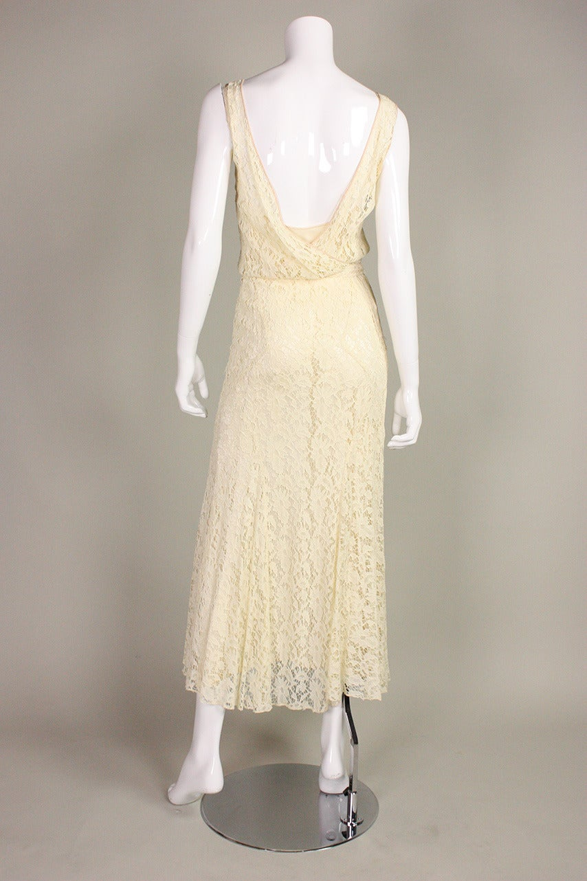 1930's Ivory Lace Dress For Sale 1